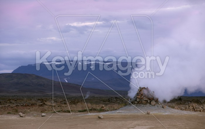 Smoking fumaroles in the geothermal area Hverir, Iceland. Photo #57120