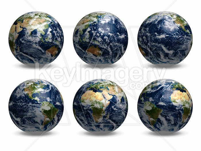 6 views of Earth (with clouds) Photo #12734