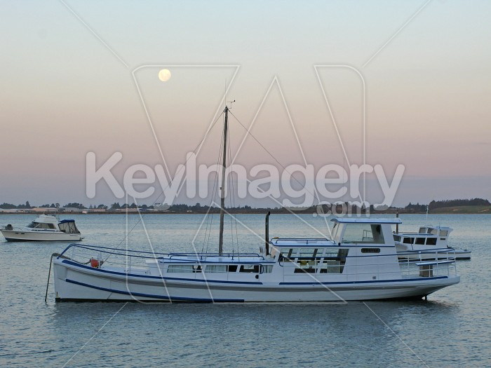 A moored boat at dusk in Tauranga harbour Photo #583