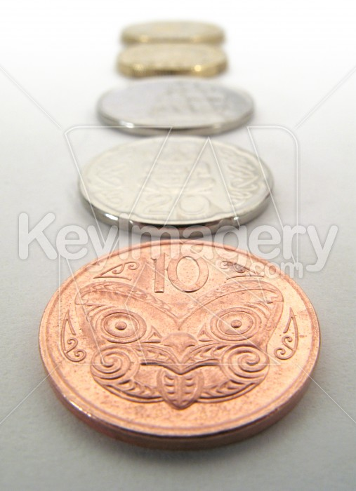 A stack of NZ coins Photo #2283