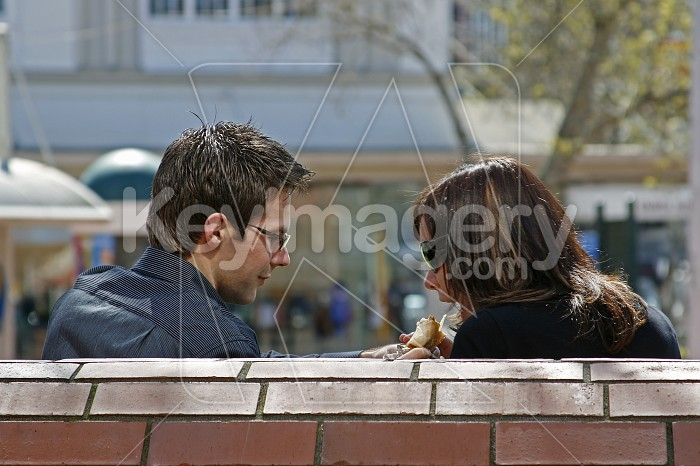 A young couple lunching in the Park Photo #4416