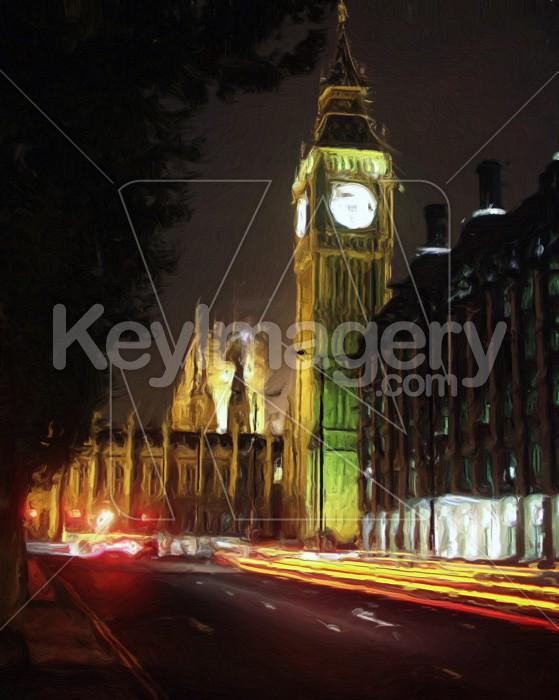 Big Ben illuminated at night (oil painting) Photo #2532