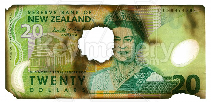 Burnt New Zealand Currency Photo #706