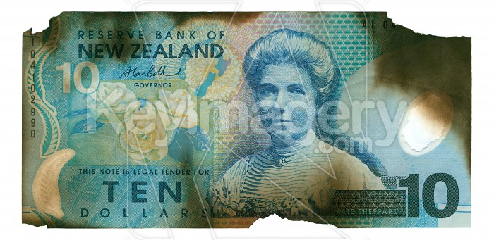 Burnt New Zealand Currency Photo #712