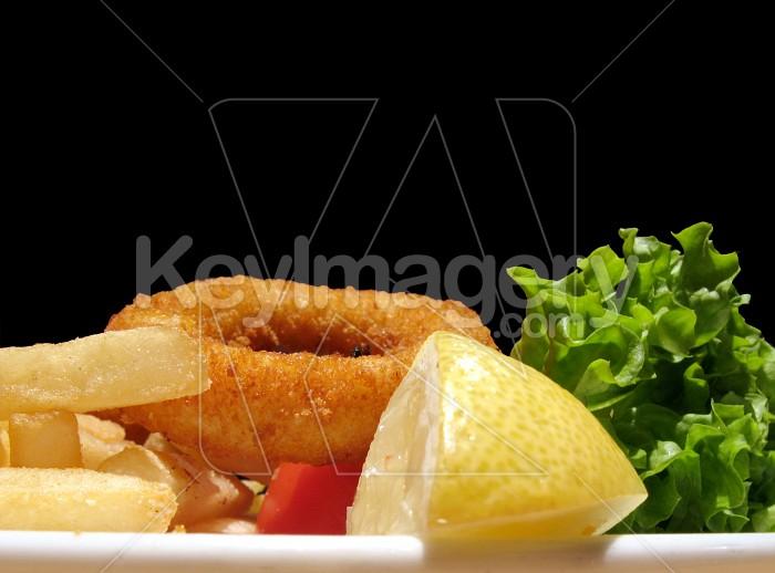 Calamari and chips with salad Photo #1470