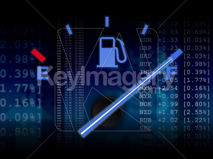 Car fuel gauge on full with market data background Photo #12197