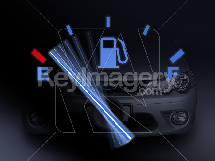 Car fuel gauge with needle moving to empty (car background) Photo #12203