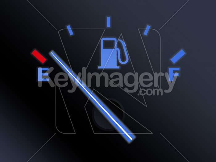 Car fuel gauge with needle near empty Photo #12199