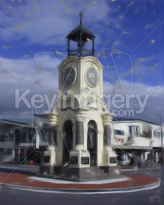 Clock tower in Hokitika (oil painting) Photo #2549