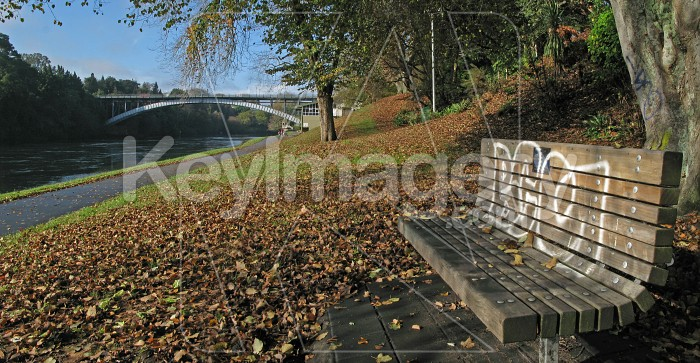 Empty park bench on the riverside Photo #1998