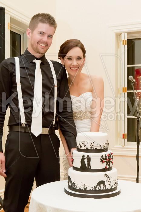 Groom and Bride cutting wedding cake Photo #53090