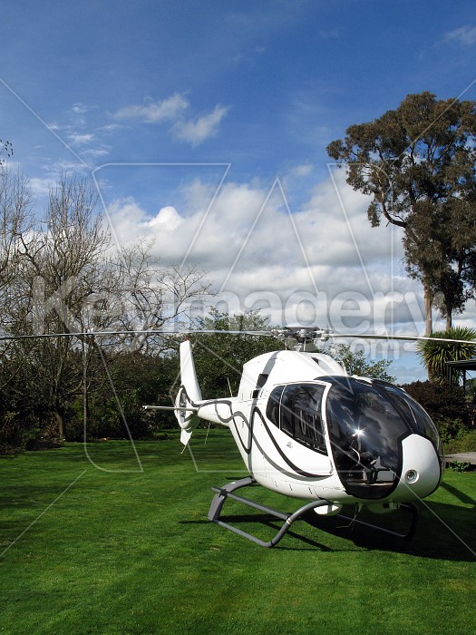 Helicopter front-on with sky and grass Photo #4291