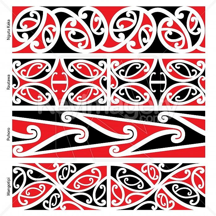 a0ef82bc67214 Maori Border Designs (Ngutu Kaka, Rautawa, Puhoro, Mangotipi) Illustration  #37485