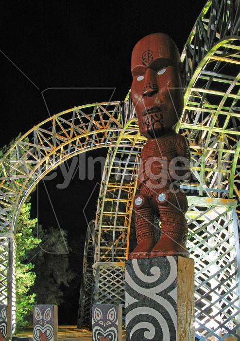 Maori carving at Entranceway Photo #1468