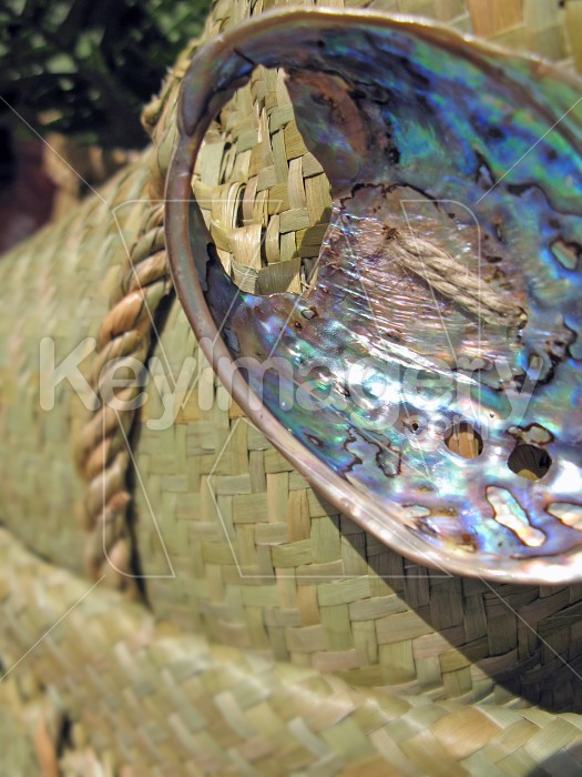 Paua shell with flax weave and fern Photo #1493