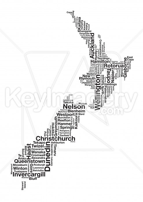 Place Names of New Zealand in Map Illustration 43372 by MikeWalen