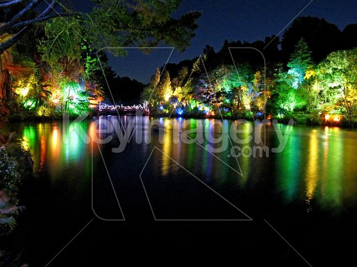 Reflections from of the bridge at Pukekura Park Photo #6522