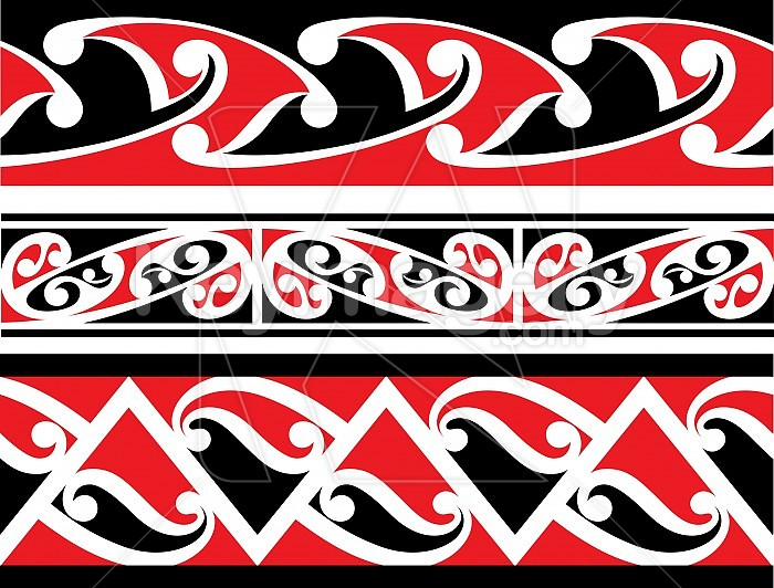 Seamless Maori Border Designs Illustration #24401