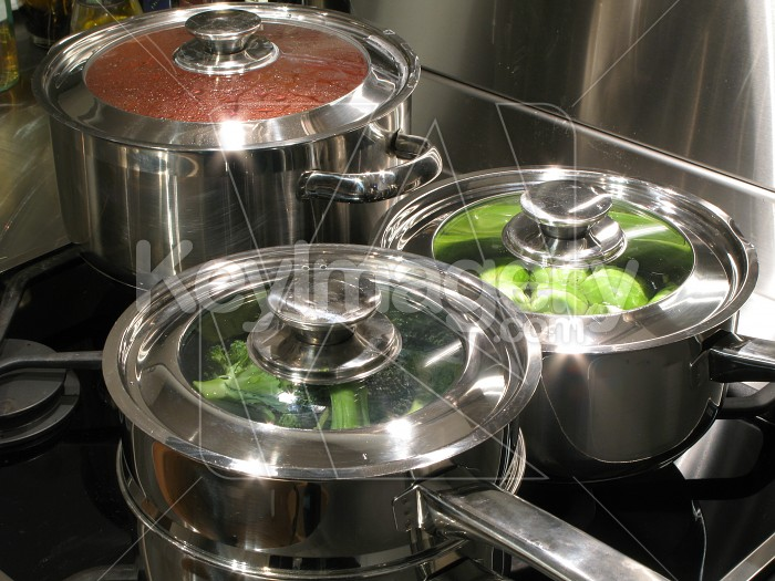 Stainless steel kitchen cooktop and pots Photo #2104