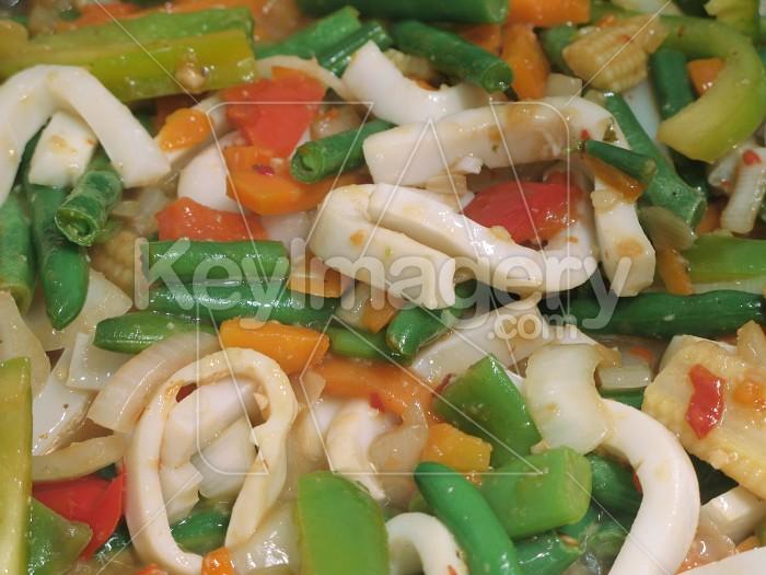 Stir fry vegetables and calamari pieces Photo #2365