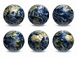 6 views of Earth (with clouds)