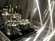 Stainless steel kitchen cooktop and pots