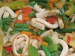 Stir fry vegetables and calamari pieces
