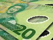 New Zealand 20 notes close up
