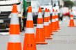 Road cones during road works