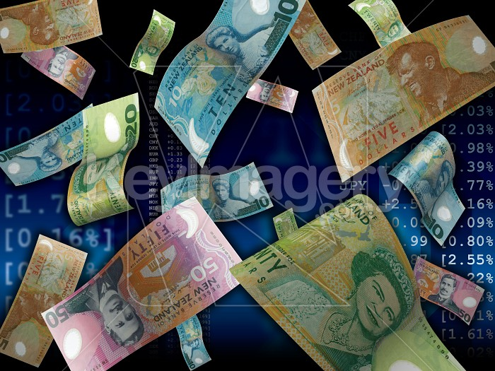 The falling Kiwi dollar on market information background Photo #12752