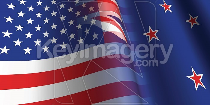 USA and New Zealand Relationship Flag Photo #19023