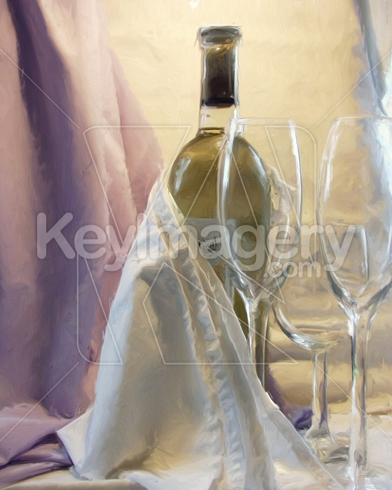 Wine bottle and wine glasses (oil painting) Photo #2536