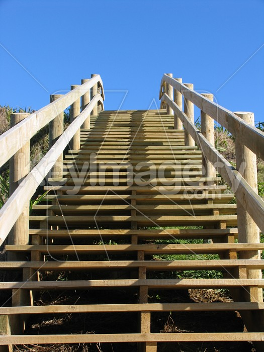 Wooden stairs up hill Photo #411