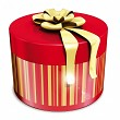 gifts round box  and gold ribbon