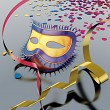 Carnival mask and streamer