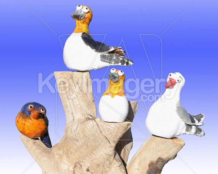 China birds on a log Photo #4089
