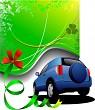 Green background and blue car sedan. Vector illustration