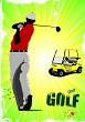 Colored poster of Golfers hitting ball with iron club and electr