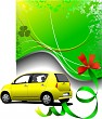 Green background and yellow car sedan on the road. Vector illust