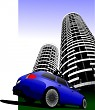 Blue colored car station on the road and city silhouette. Vector