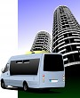 Blue colored minibus on the road and city silhouette. Vector ill