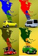 Four covers with Map of North and Central America. Vector illust