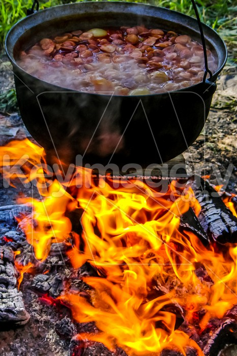 Cooking soup in a pot on campfire. Photo #60516