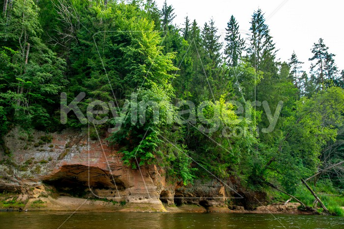 Landscape with river, cliff  and forest in Latvia. Photo #61496