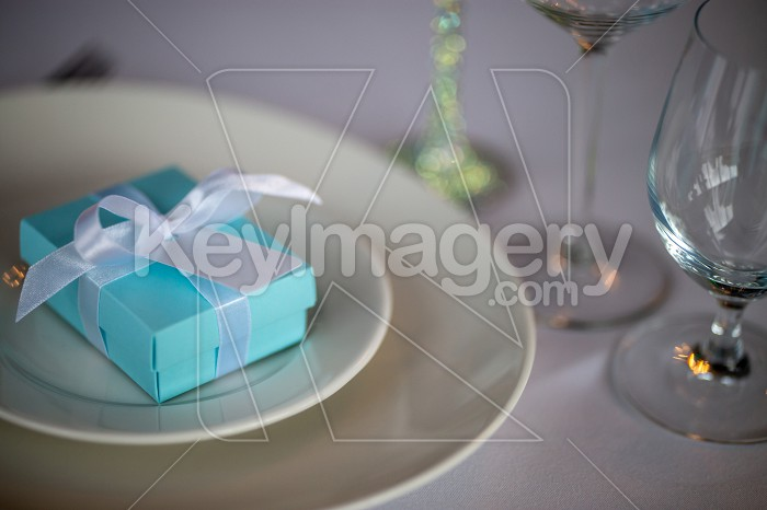 Light blue gift box on the plate Photo #61677