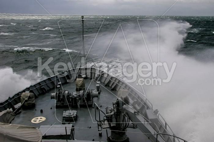 Military ship at sea during a storm. Photo #60397