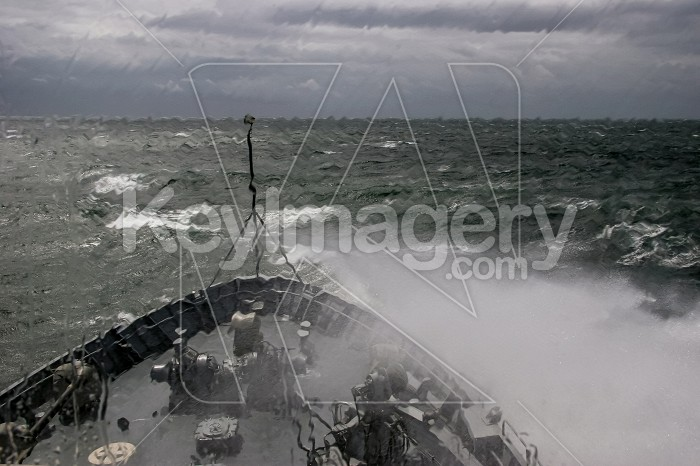 Military ship at sea during a storm. Photo #60403