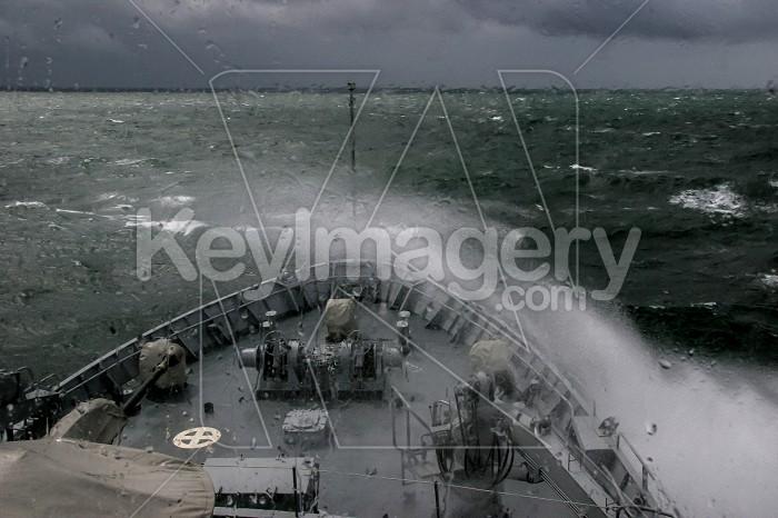Military ship at sea during a storm. Photo #60404