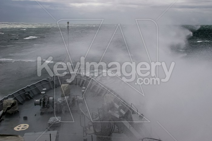 Military ship at sea during a storm. Photo #60406