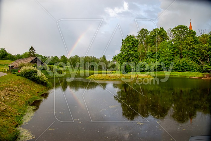 Rainbow over the trees and pond Photo #61740